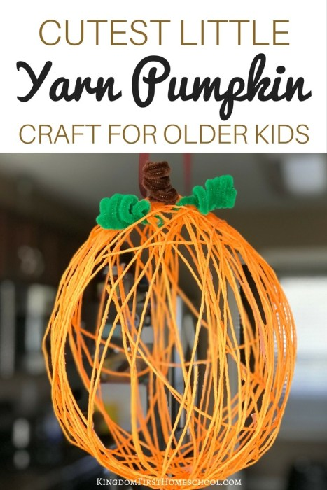 Yarn Pumpkin Craft for Older Kids