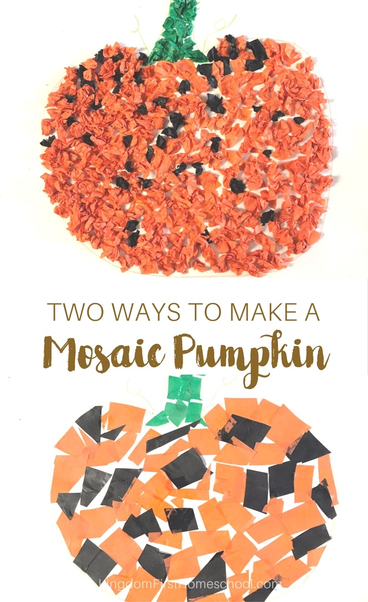 Two ways to make this Mosaic Tissue Paper Pumpkin Craft with your kids.