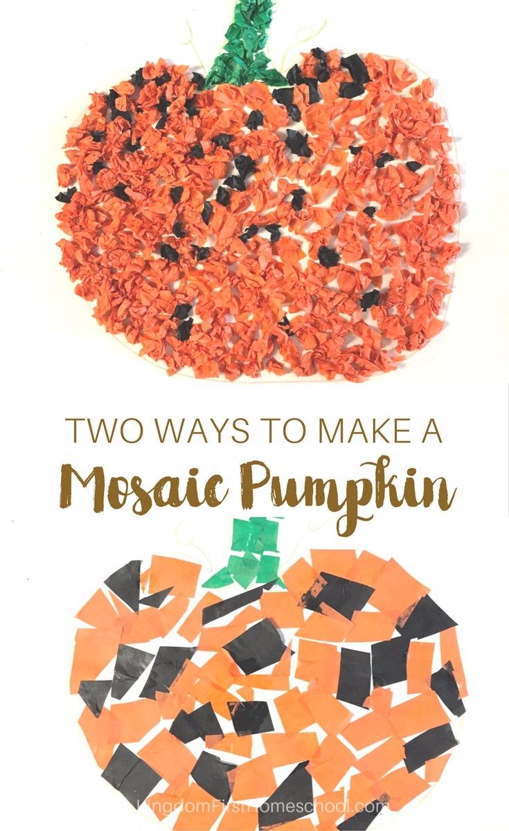 Mosaic Tissue Paper Pumpkin Craft For Kids 2 Methods Kingdom