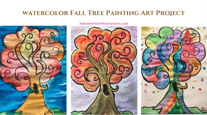 Fall Tree Watercolor Painting