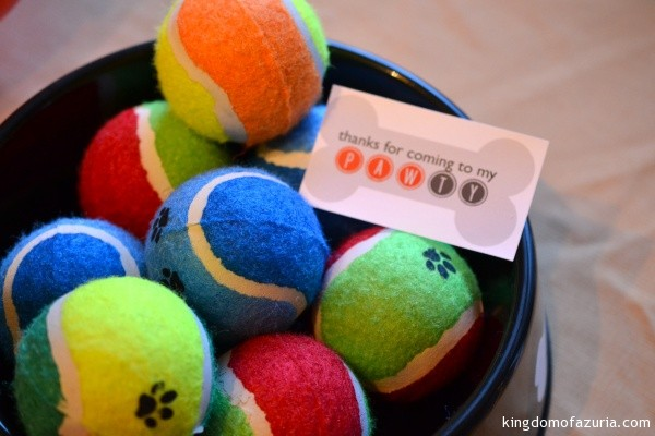 tennis ball favors puppy party