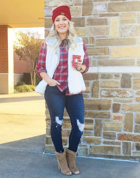 Plaid & Distressed Jeans
