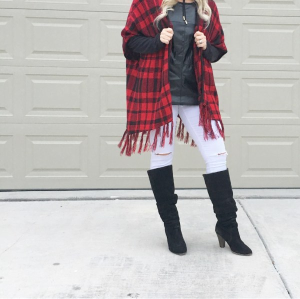 plaid fringe cape