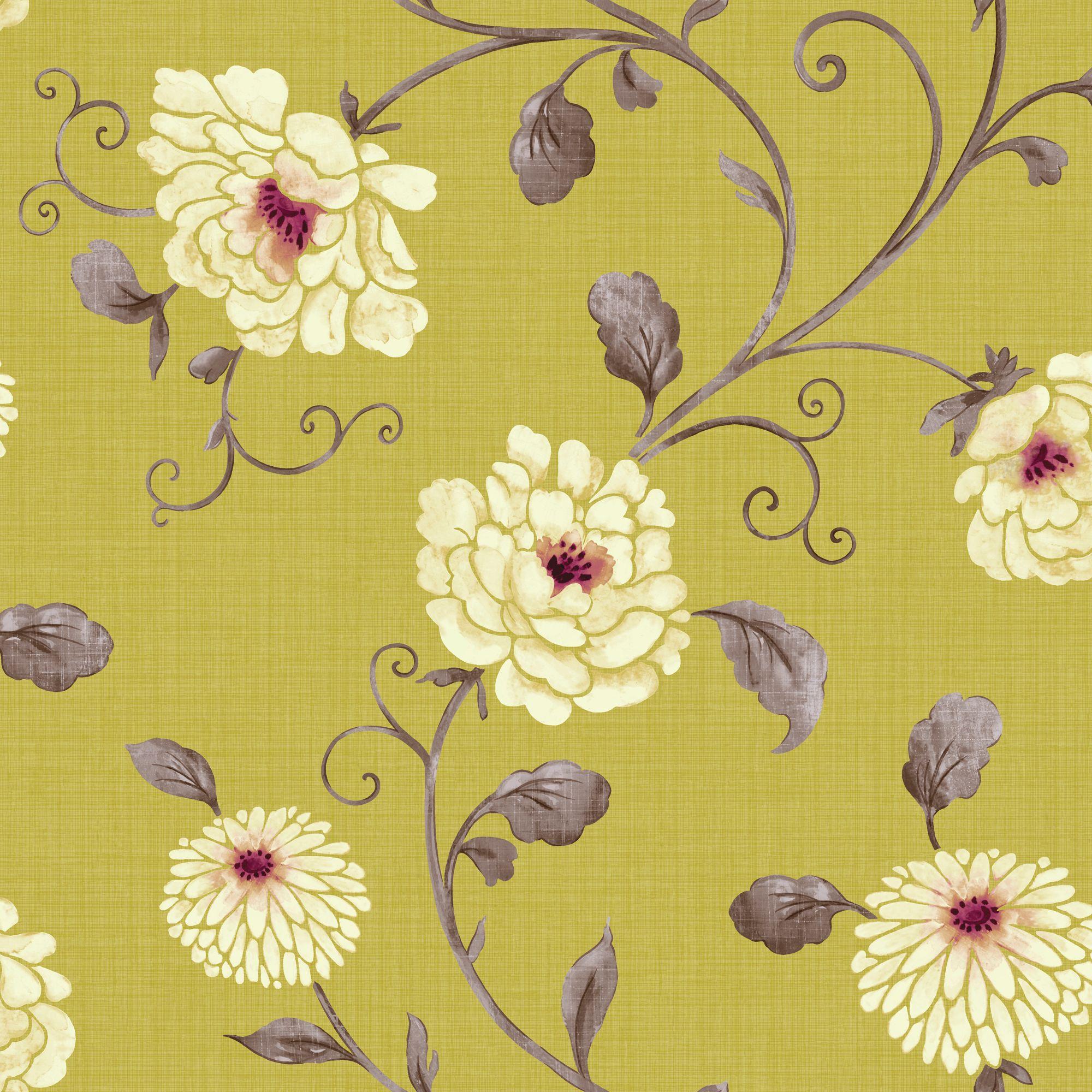 Arthouse Vintage Antoinette Pistachio Floral Wallpaper
