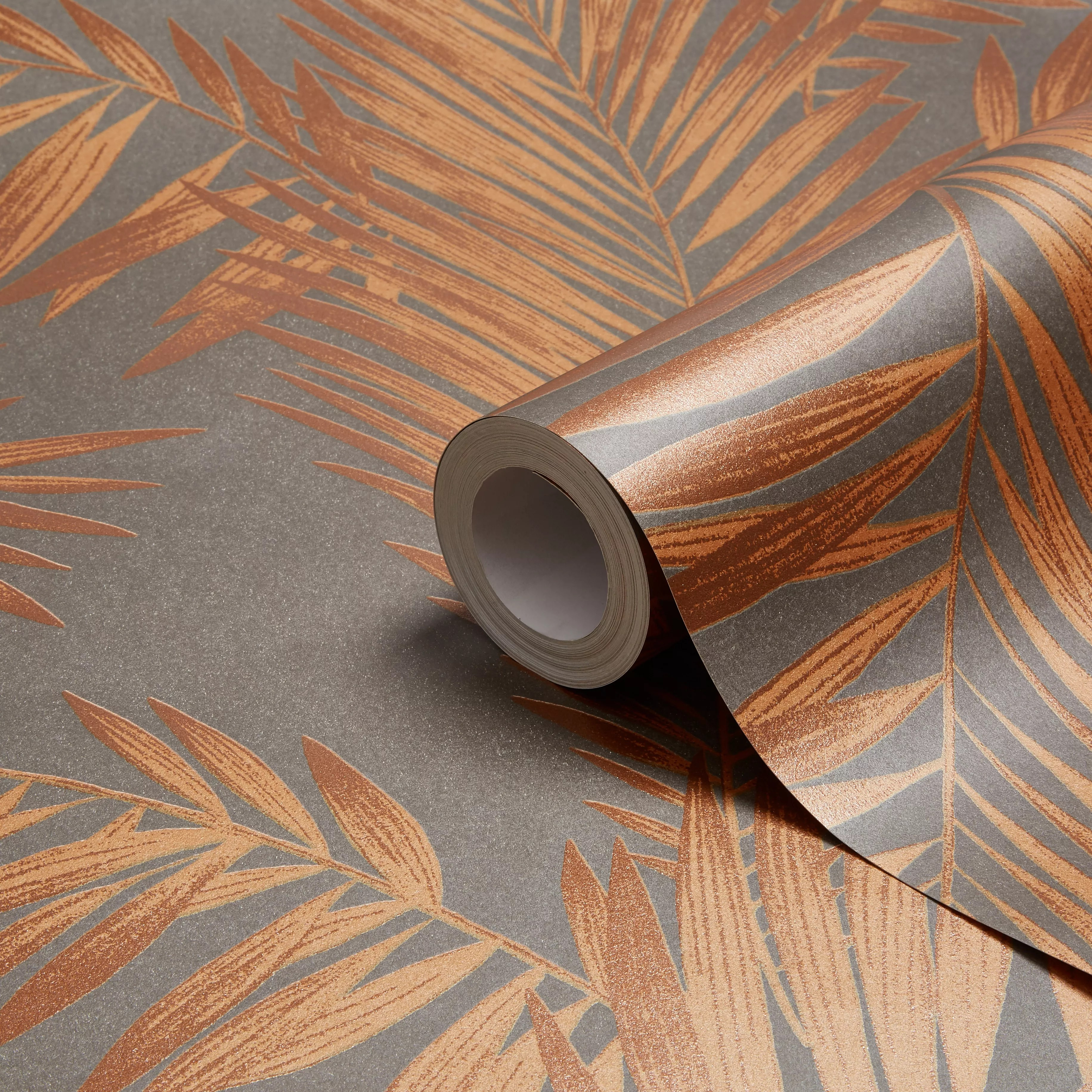 Arthouse Cressida Copper Amp Grey Leaves Glitter Effect Wallpaper Clearance DIY At BampQ