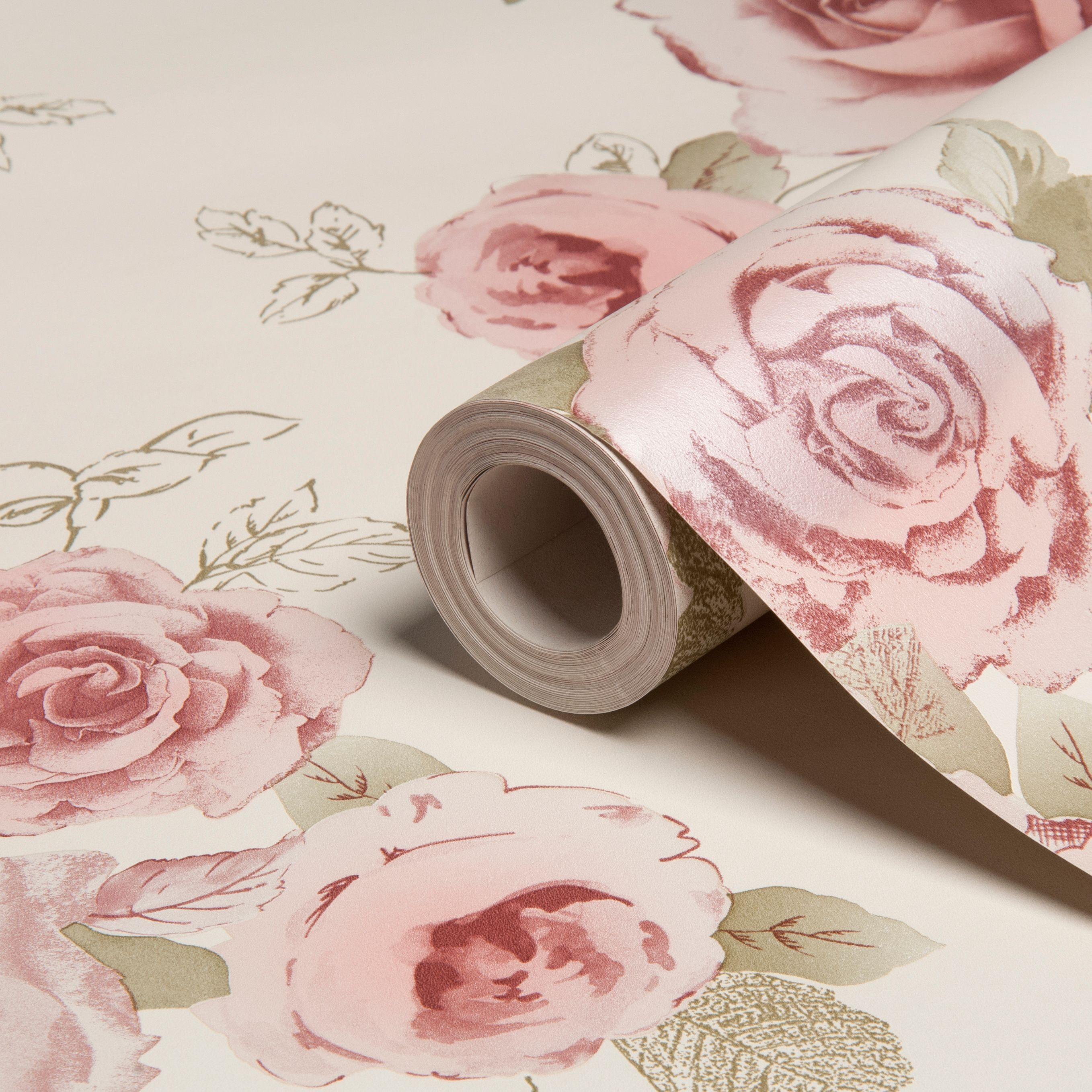 Arthouse Vintage Nicky Cream Green Rose Floral Wallpaper Departments Diy At B Q