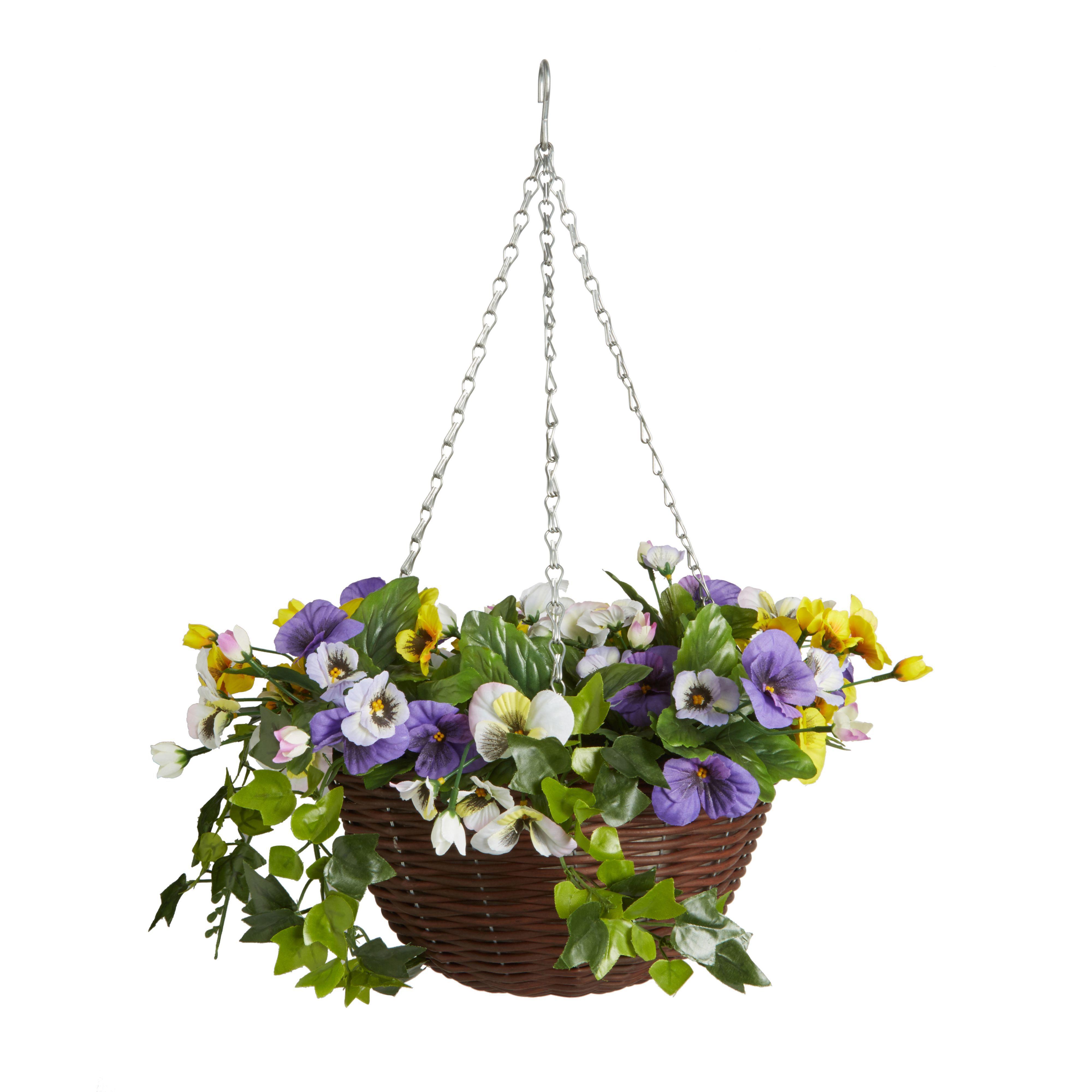 Smart Garden Artificial Pansy Hanging Basket 300 Mm