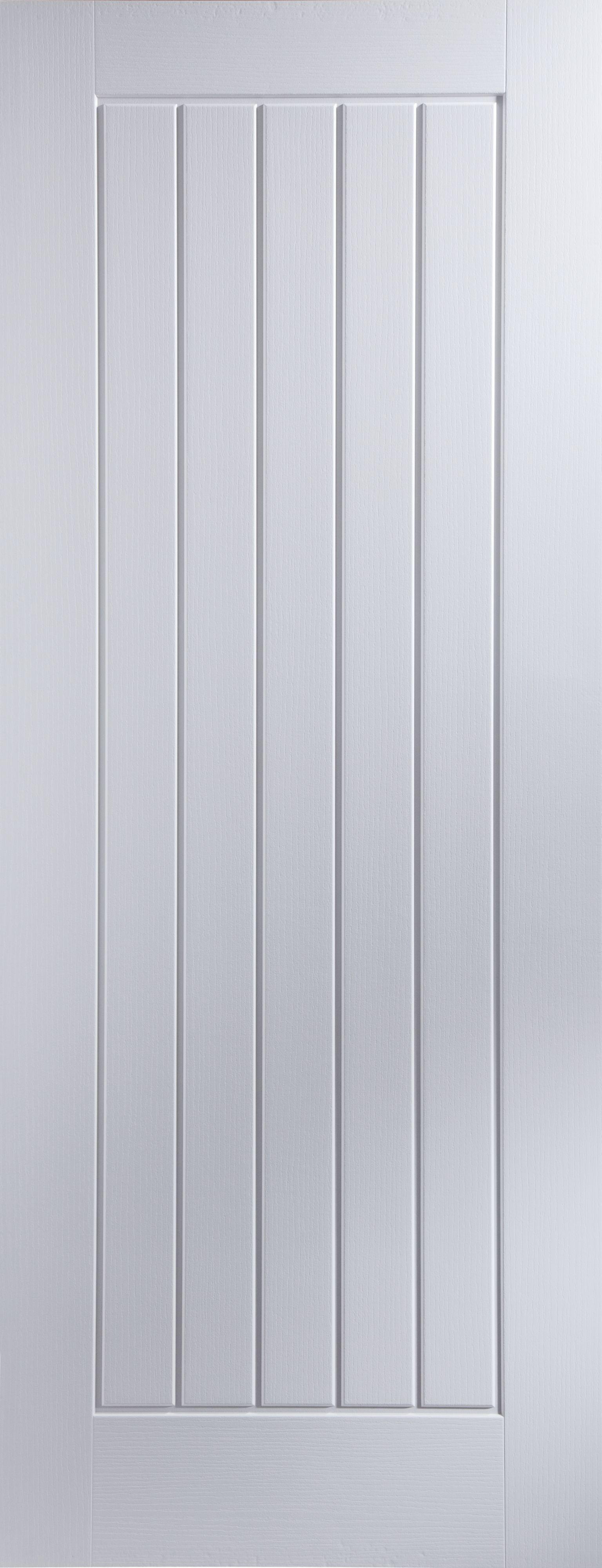 Cottage Panel Pre Painted White Woodgrain Unglazed Internal Standard Door H1981mm W762mm