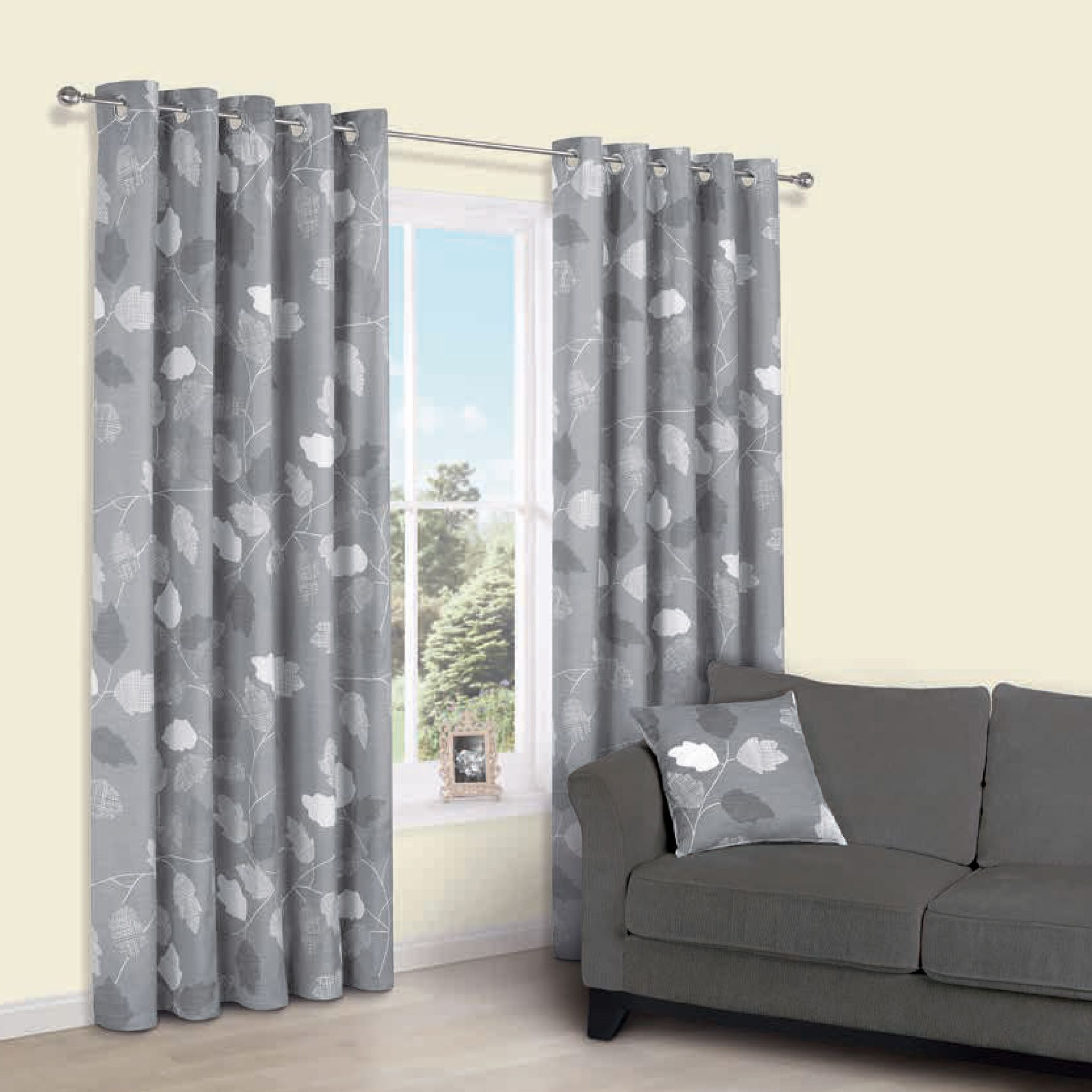 Centola Grey Leaves Print Eyelet Lined Curtains W 117 Cm