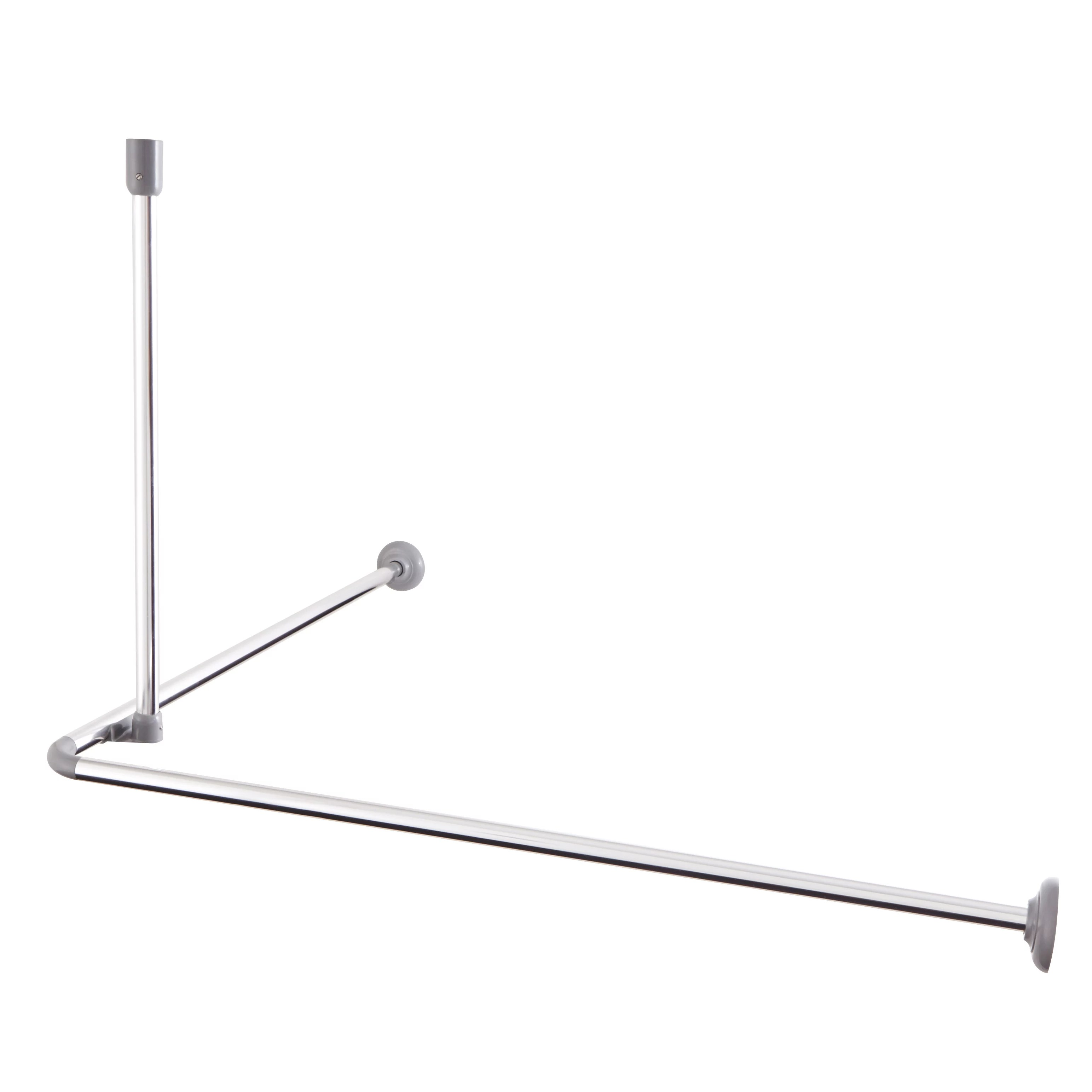cooke lewis non extendable nira chrome effect metal angled shower curtain rod l 0 8m