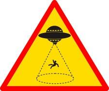 Danger Alien abductions sign Halloween