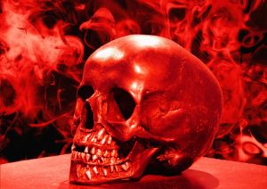 Red Halloween colored skull