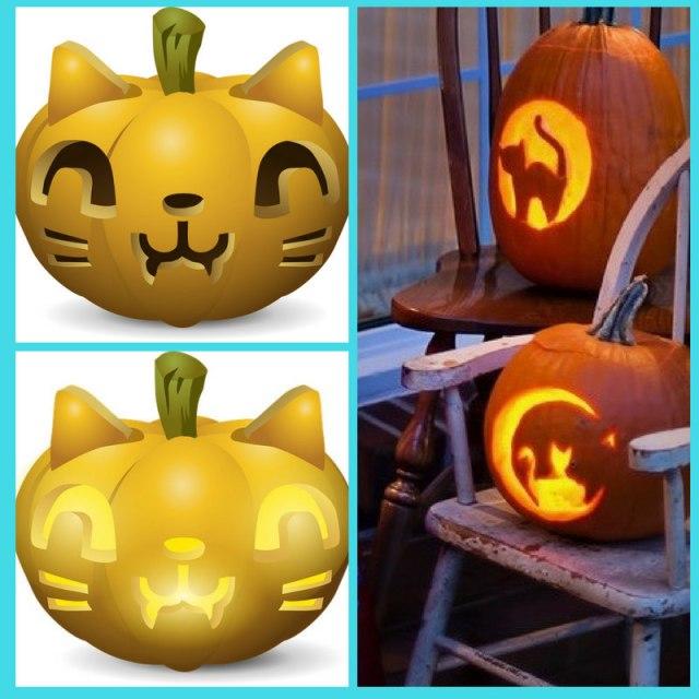 Cat pumpkin carving images x three