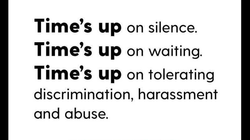 Time's up text on ending sexual harassment