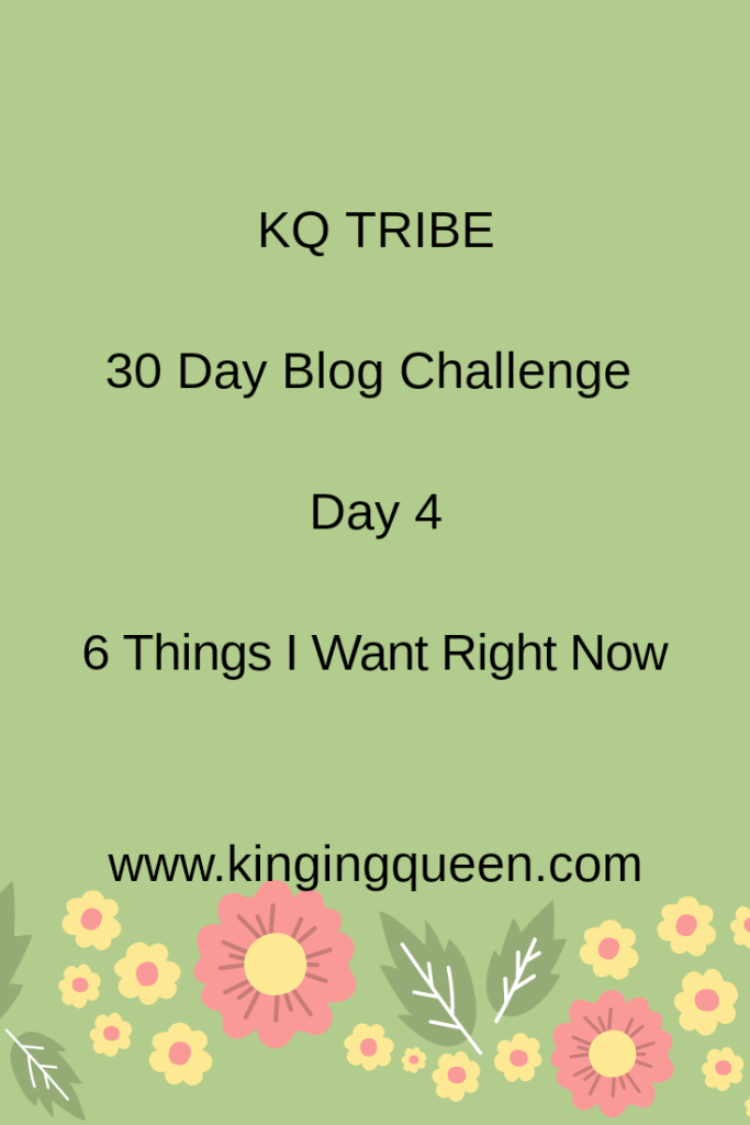 30 Day Blog Challenge: Day 4: 6 Things I want Right Now