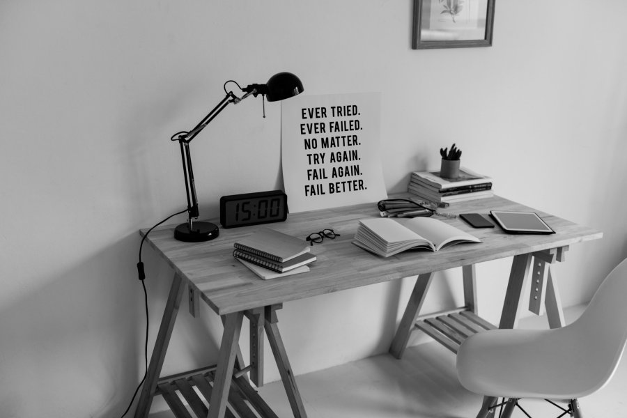 picture of a workspace showing inscriptions on personal self development