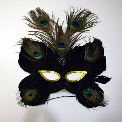 Butterfly Mask w/Peacock Feathers