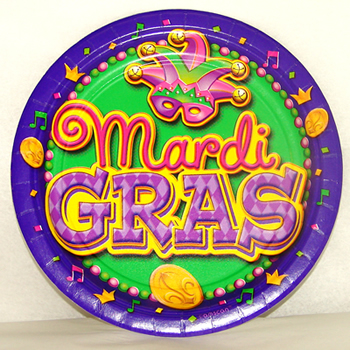 Mardi Gras party plates
