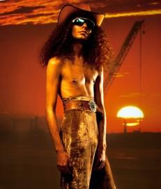 Cowboy hat - stylist's own | Sunglasses - Oakley | Belt - Vintage @ Episode | Trousers - Y- Projects