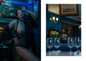 (left) Body - WOLFORD | Harness - ZANA BAYNE | Waistcoat - stylist own (right) Body chain - PALOMA CASILE | Pantie - PALOMA CASILE | Sleeves - METAMORPH'OSE
