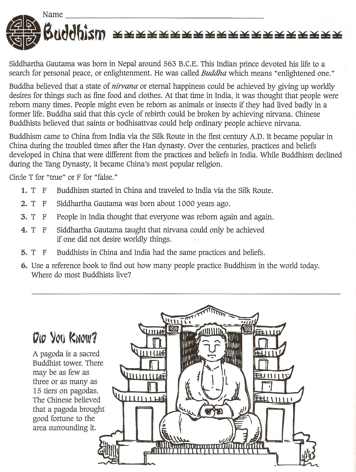 Buddhism Worksheet 6th Grade