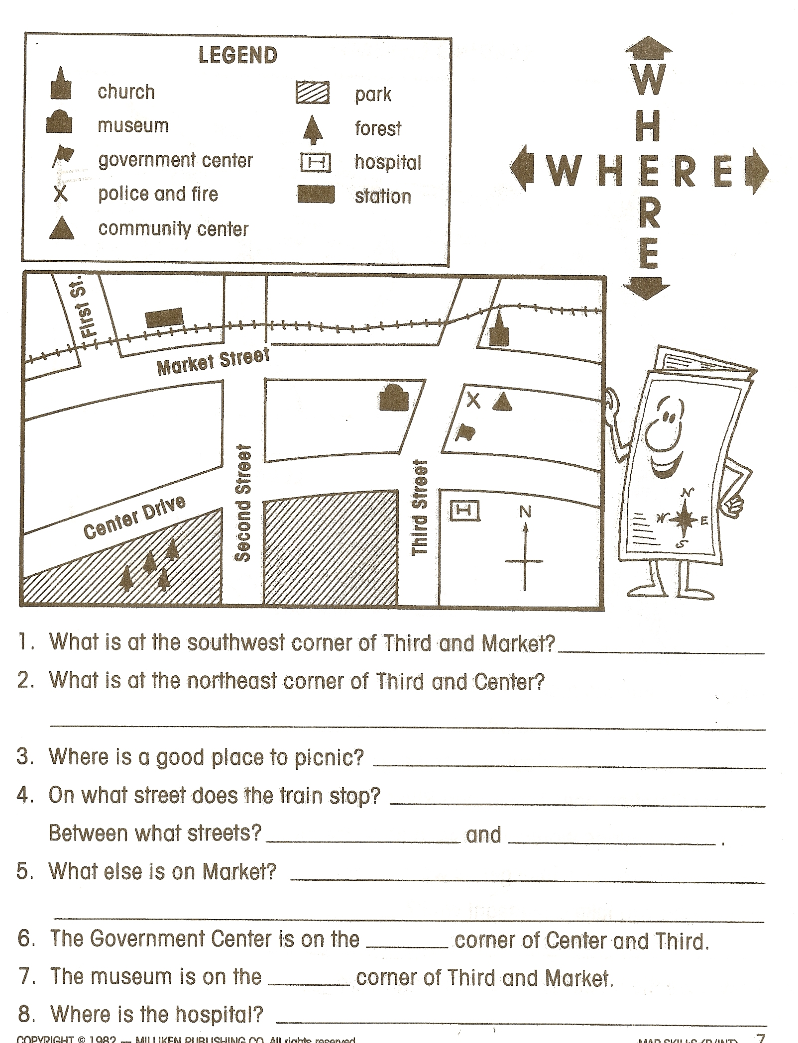 Cardinal And Intermediate Compass Rose Worksheet 3rd Grade