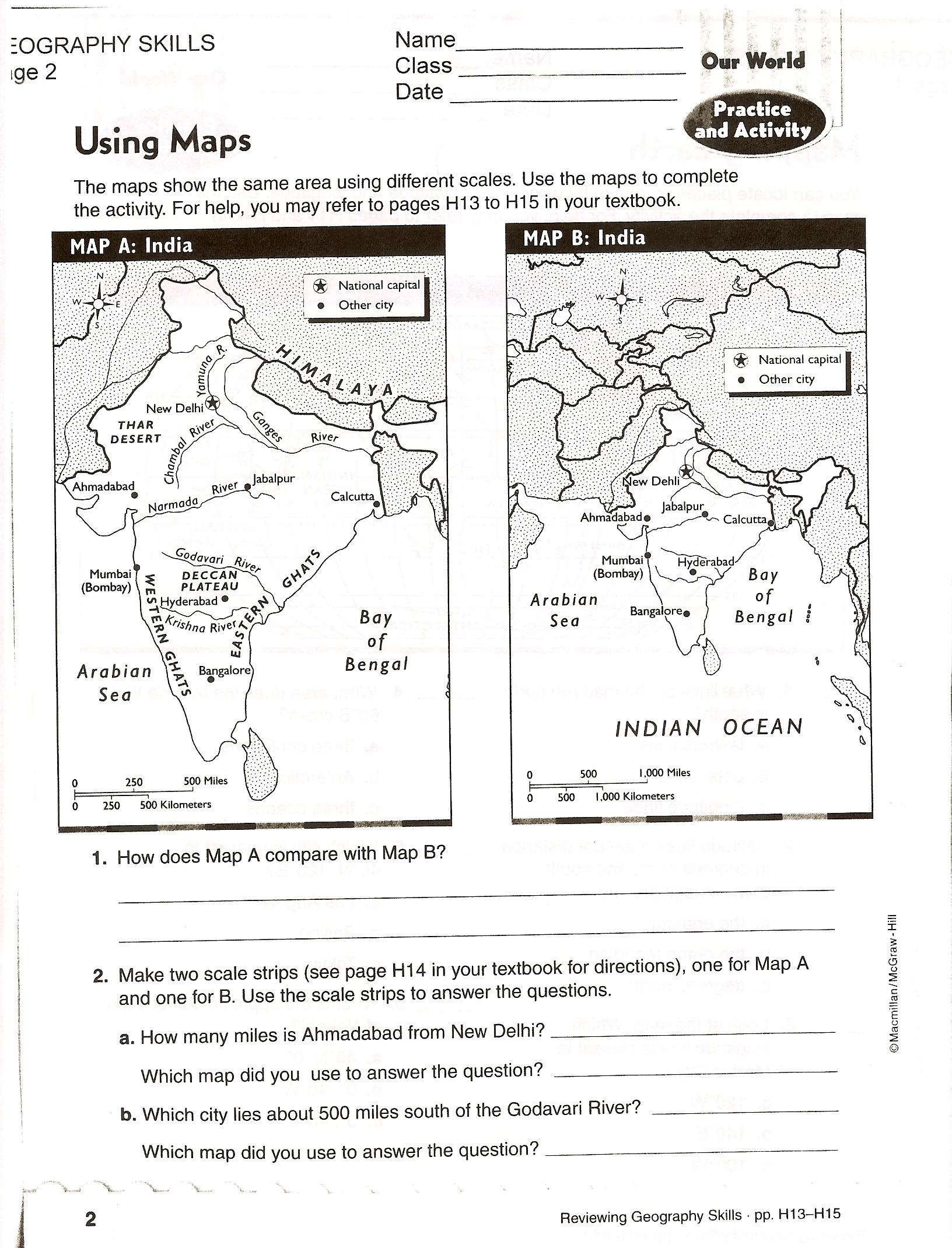Practicing Map Skills Worksheet