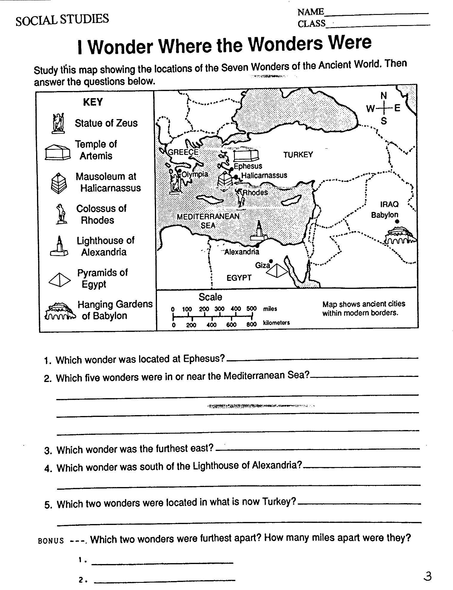 U S History Worksheet 6th Grade