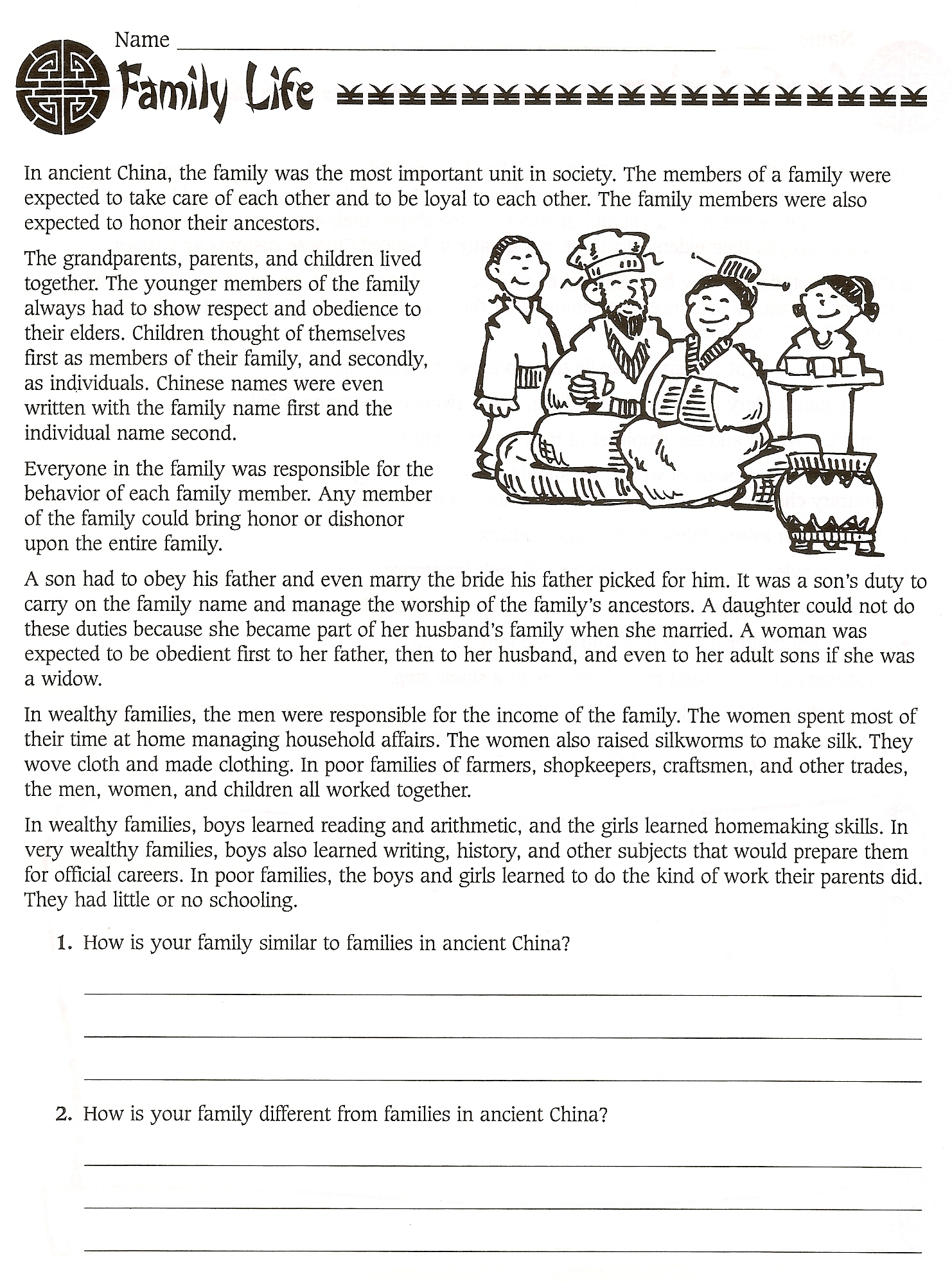 6th Grade Social Stu S Ancient China Worksheets World