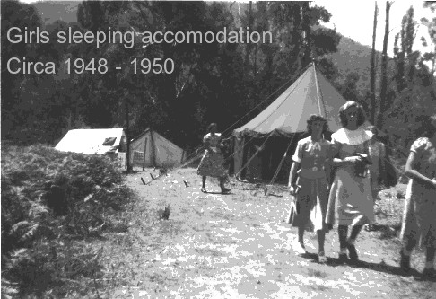 c1948 - Early accommodation was strictly tent and the bush location was a real country trip