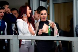 PICTURE - MARK LARGEÖ 15.03.16 Jessica Hayes( in white) and Kate Salmon( black dress) in a box on day one of the Cheltenham Festival 2016.