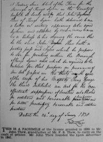 1838 John Thews licence (1936 Aug 28th reprint)
