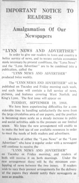 1944 Sept 15th Lynn Advertiser & Lynn News combine