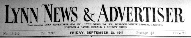 1944 Sept 22nd first Lynn News & Advertiser