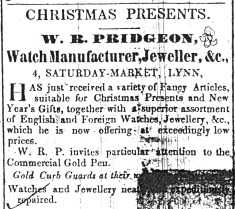1847 Dec 25th William Pridgeon @ 4 Sat Mkt Plce