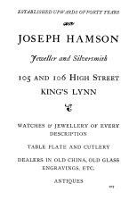 1924 Joseph Hamson (Holcombe Ingleby Treasures of Lynn)