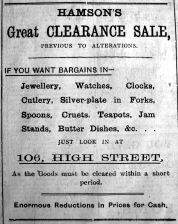 1922 Sept 22nd Hamsons sale prior to alterations