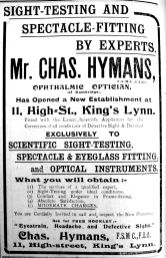 1912 Oct 12th Chas Hymans opens