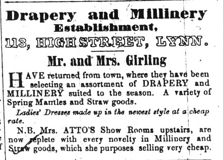 1852 March 13th Mr & Mrs Girling & Mrs Atto