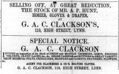 1867 Oct 5th A P Hunt @ No 111 & Clackson @ 113