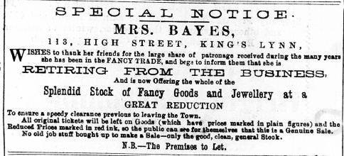 1885 Oct 10th Mrs Bayes @ No 113 ex LN