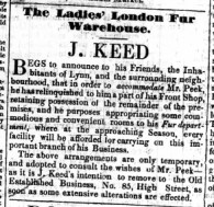 1848 July 29th J Keed accommodates Mr Peek @ No 114