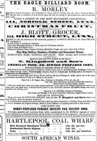 1858 Dec 4th J Blott @ No 114