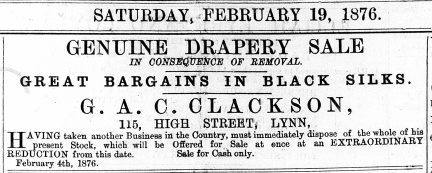 1876 Feb 19th G A C Clackson @ 115
