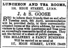 1889 April 6th J & S Goose @ Nos 116 & 117