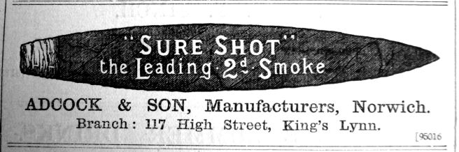 1900 Aug 31st Adcock & Son tobacconists