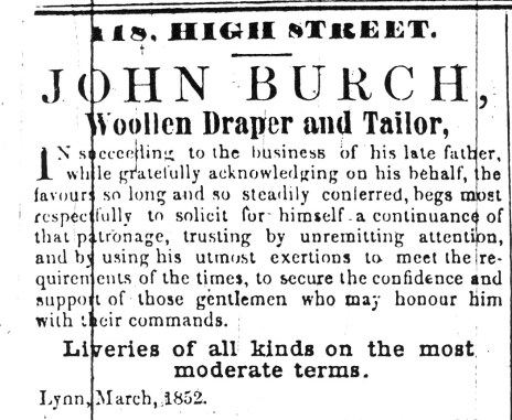 1852 March 20th John Burch jnr takes over
