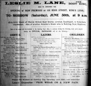 1923 June 29th Leslie M Lane opens