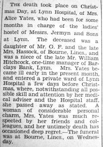 1932 Dec 30th obit Mrs Alice Yates formerly @ Jermyns