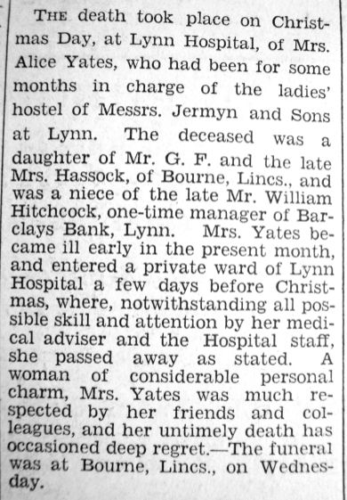 1932 Dec 30th obit Mrs Alice Yates formerly @ Jermyns